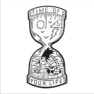 Hourglass symbolic time of our lives enamel pin
